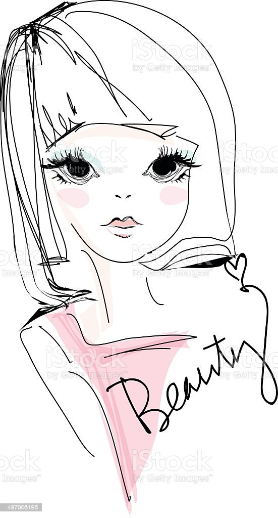 sketch girl hand drawn woman illustration with pink top - 免版稅不完整圖庫向量圖形