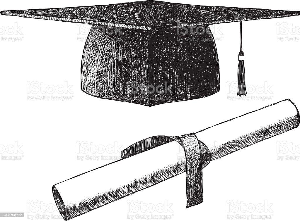 Sketch Graduation Cap vector art illustration