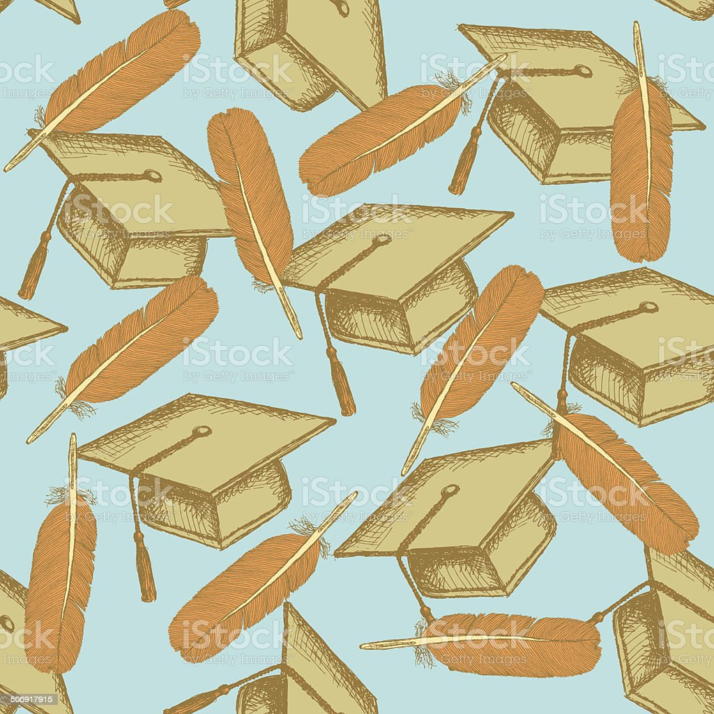Boceto tapa de graduación con almohadas de pluma - ilustración de arte vectorial