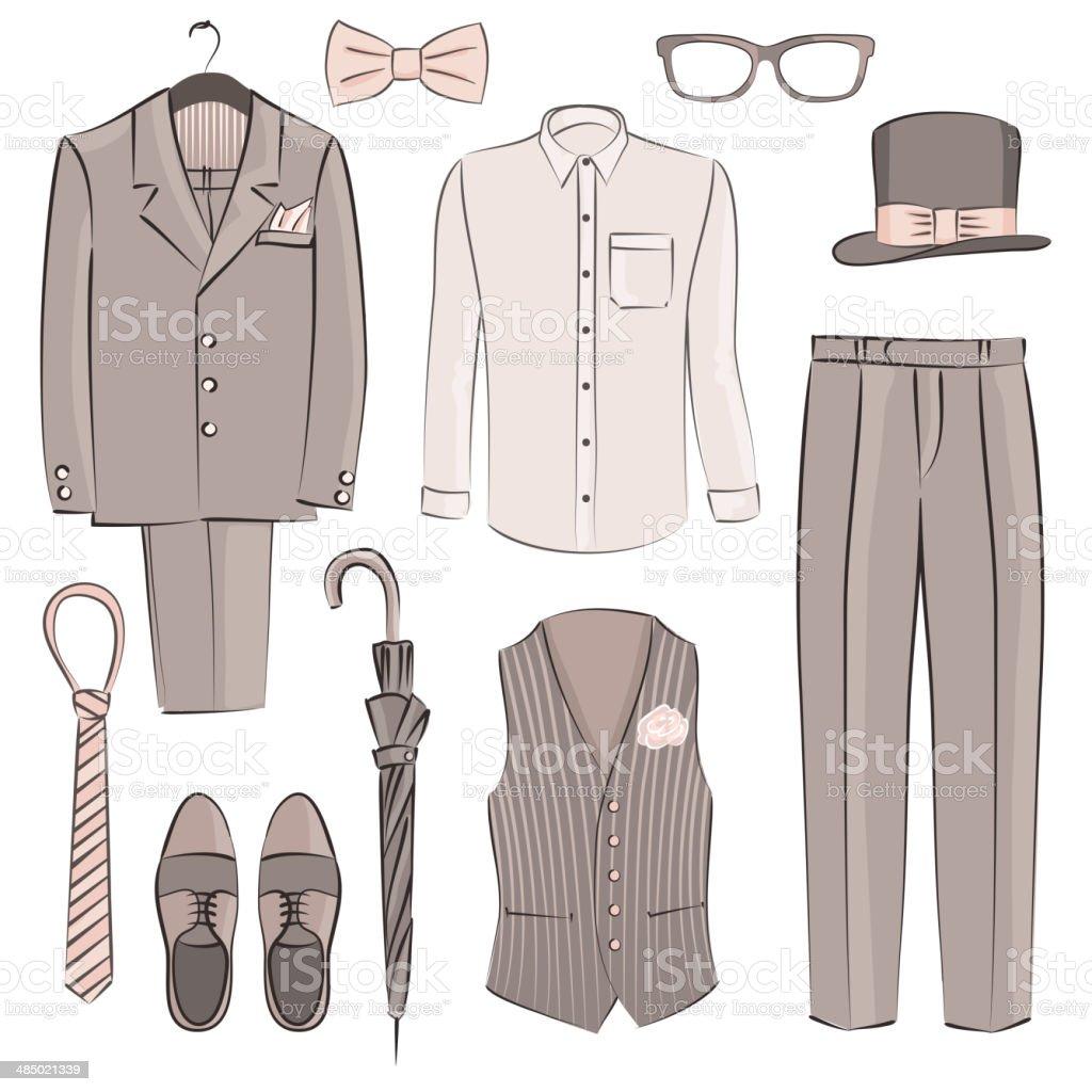 sketch groom clothing vector art illustration