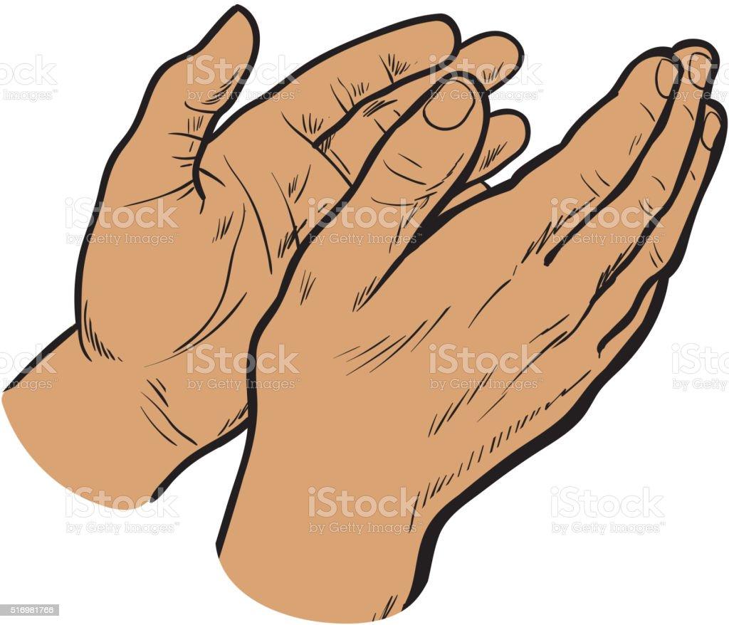 Sketch hand clap her hands, bravo vector art illustration