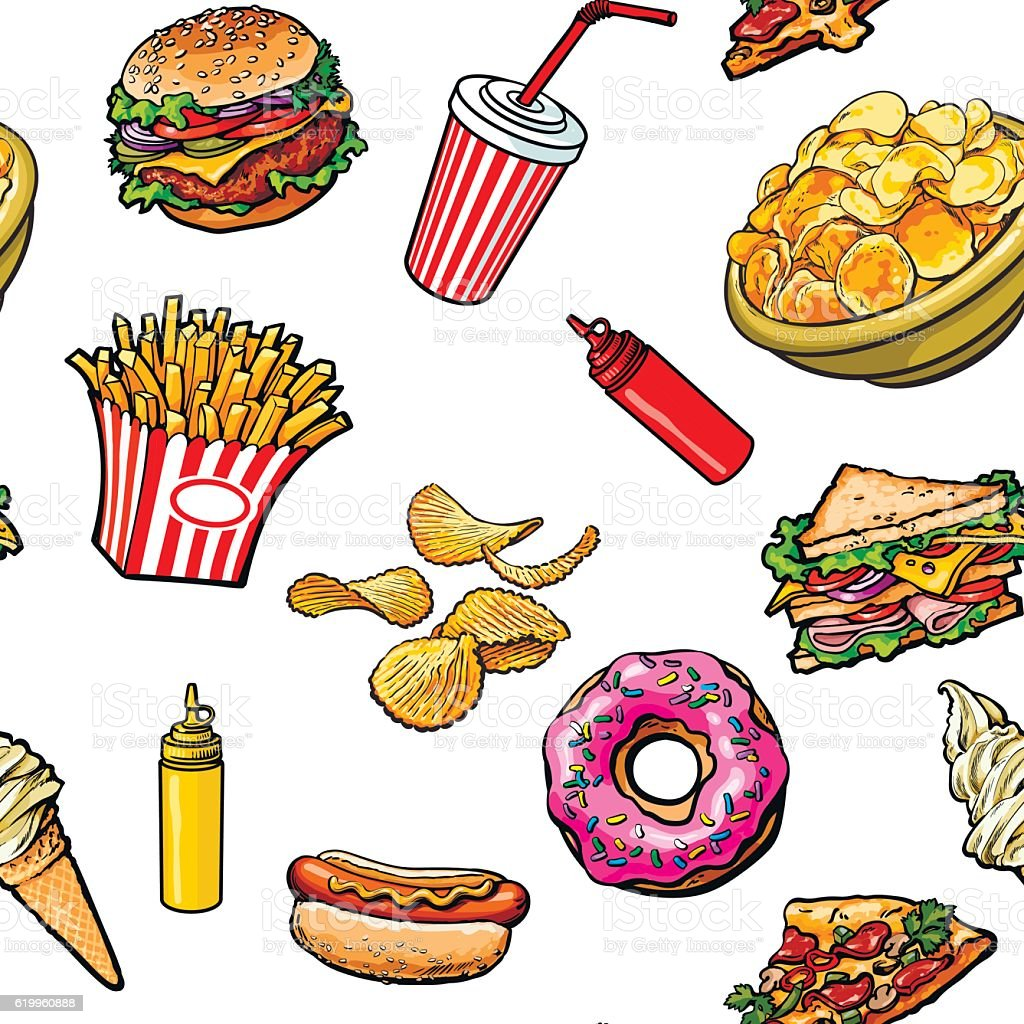 Sketch Hand Drawn Fast Food Seamless Pattern On White