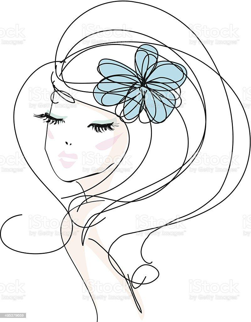 sketch hand drawn woman with make up and flower accessories - 免版稅不完整圖庫向量圖形