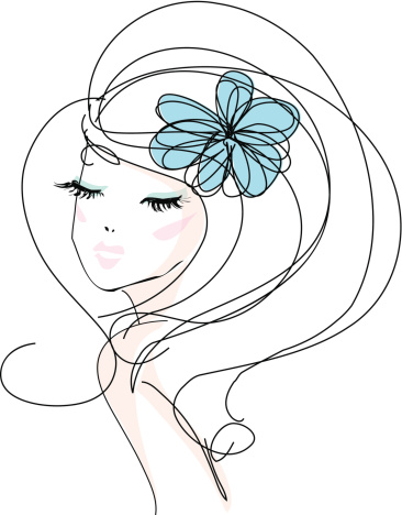 Sketch Hand Drawn Woman With Make Up And Flower Accessories向量圖形及更多不完整圖片