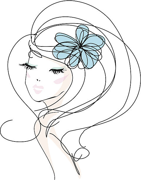 sketch hand drawn woman with make up and flower accessories向量藝術插圖