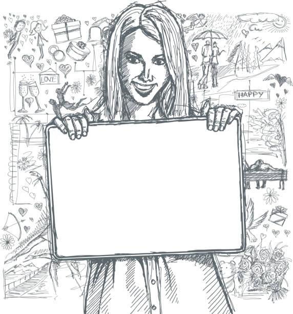 Croquis heureuse femme tenant une carte blanche vierge avec amour fond - Illustration vectorielle