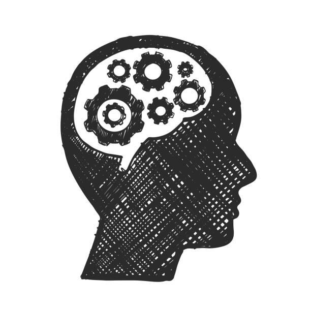 Esboce a engrenagem do cérebro cabeça, homem de negócios. - ilustração de arte em vetor