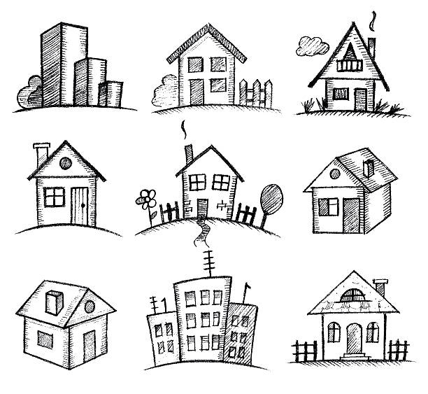 sketch houses icon set Vector sketch houses icon set cottage stock illustrations