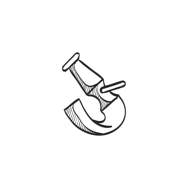 Sketch icon - Fireman water hose Fireman water hose icon in doodle sketch lines. Emergency service fire fighter extinguisher fire hose stock illustrations