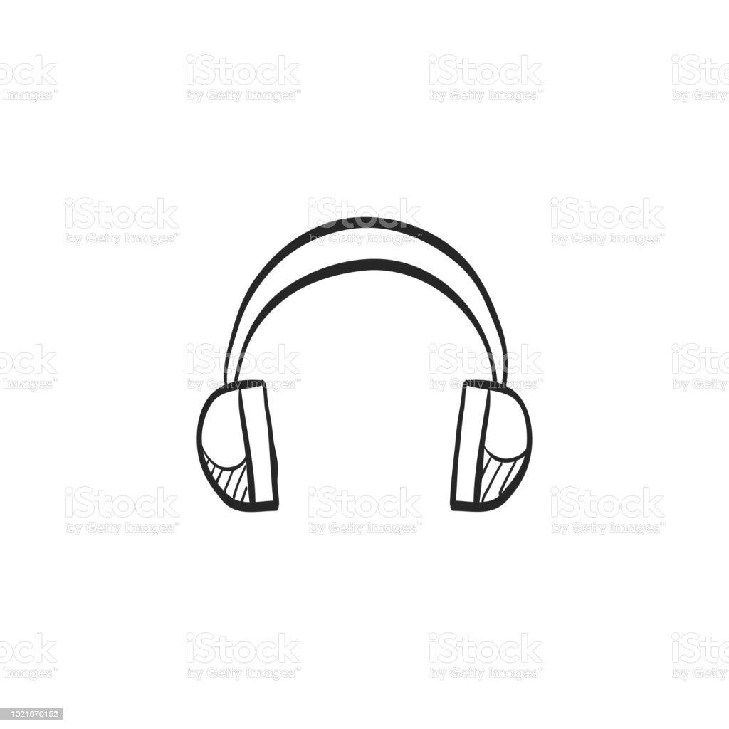 Icône De Croquis Casque Audio Vecteurs libres de droits et