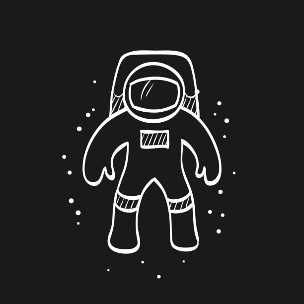 Sketch icon in black - Astronaut vector art illustration