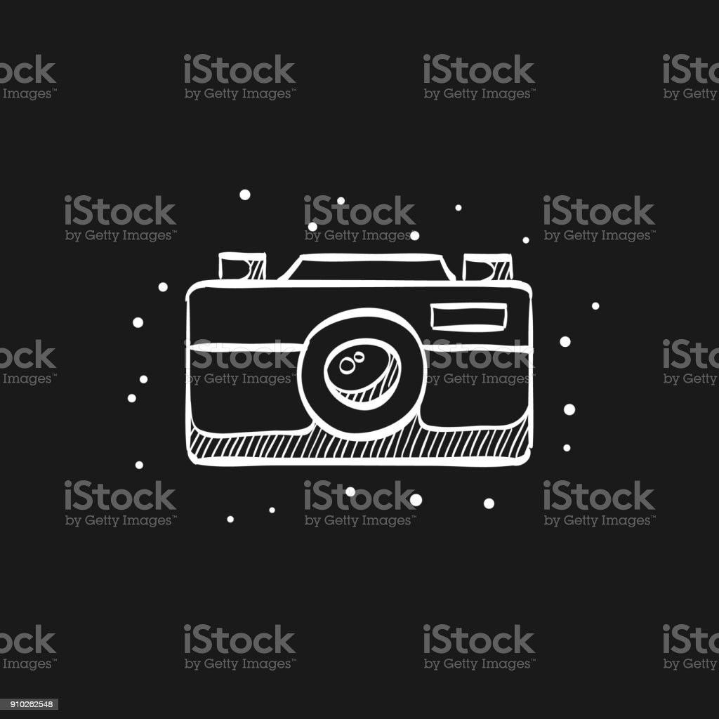 Sketch icon in black - Camera vector art illustration