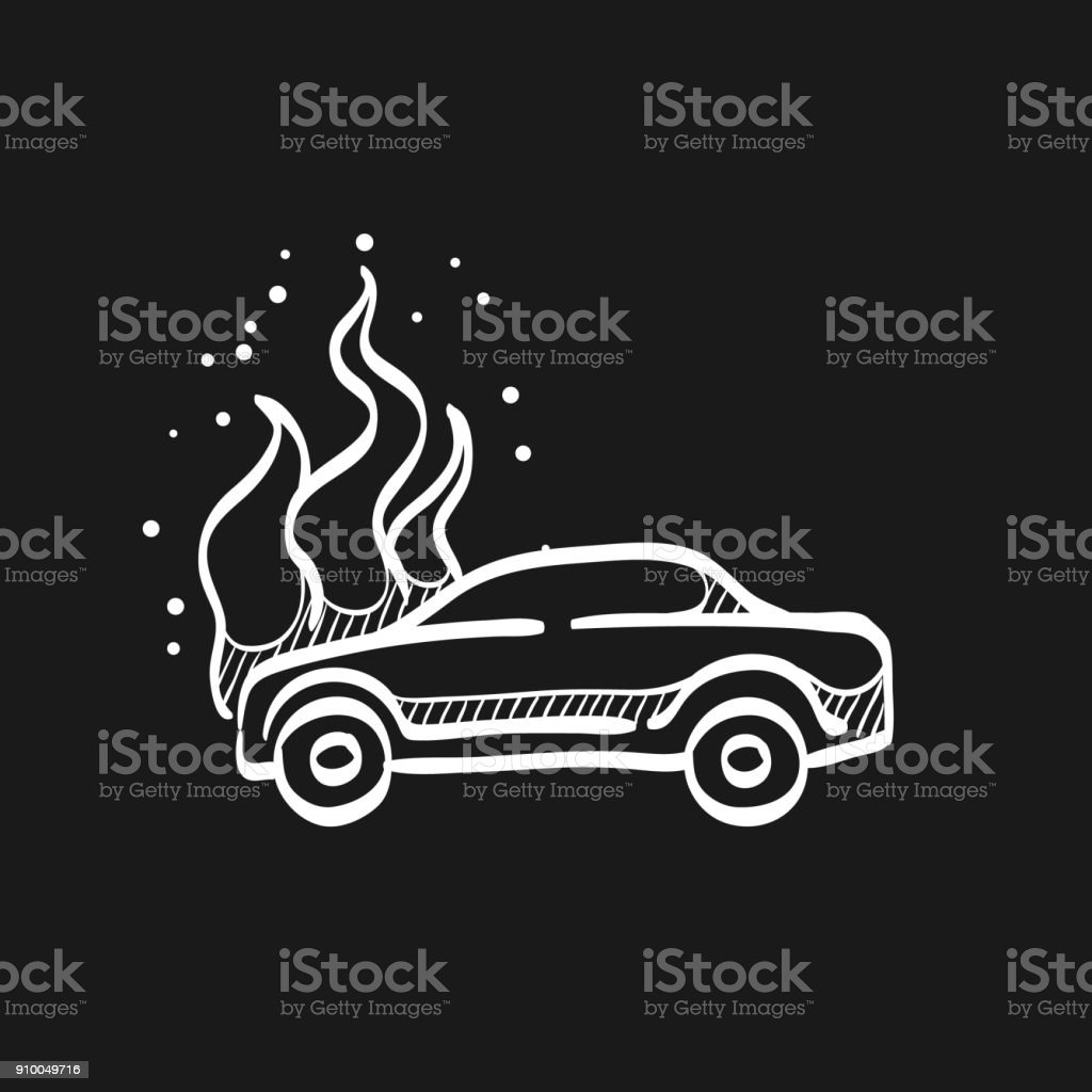 Sketch Icon In Black Car On Fire Stock Vector Art & More Images of ...