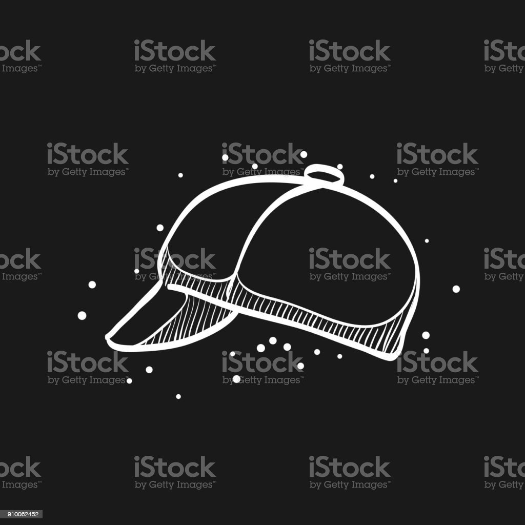 Sketch icon in black - Cycling hat vector art illustration