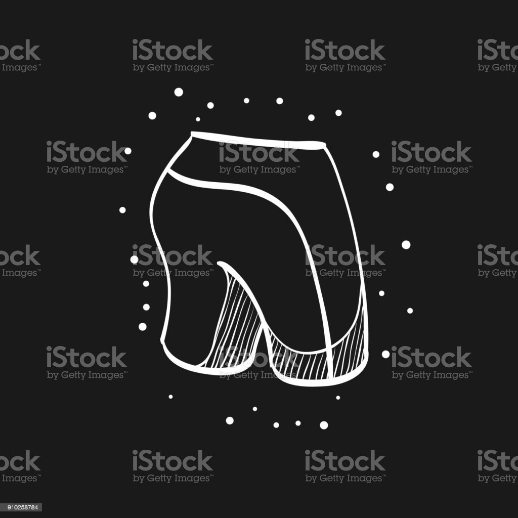 Sketch icon in black - Cycling short vector art illustration