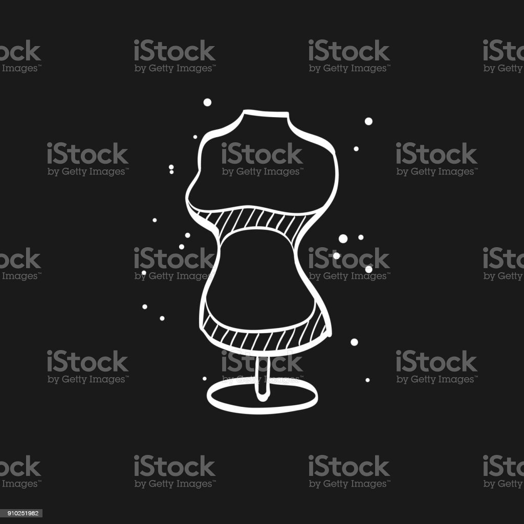 Sketch icon in black - Mannequin vector art illustration