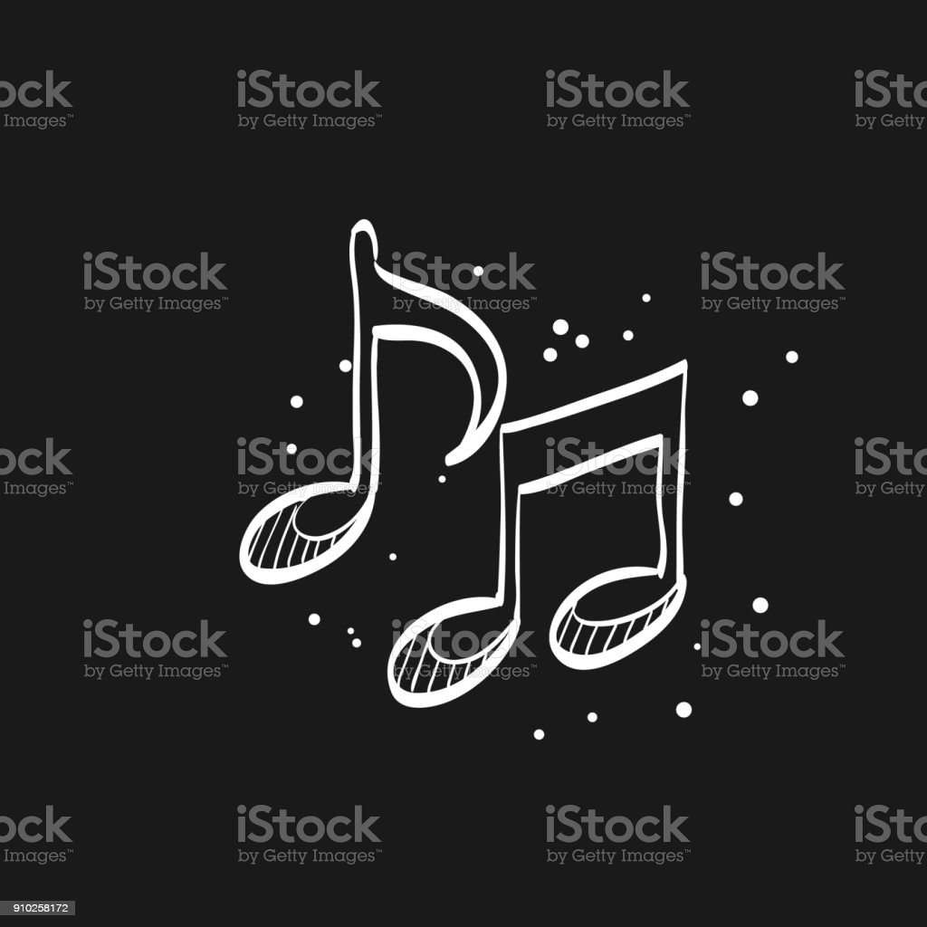 Sketch icon in black - Music notes vector art illustration