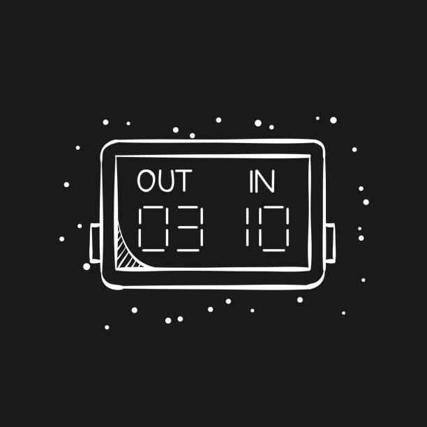 bildbanksillustrationer, clip art samt tecknat material och ikoner med skiss ikon i svart - spelare substitution board - changing bulb led