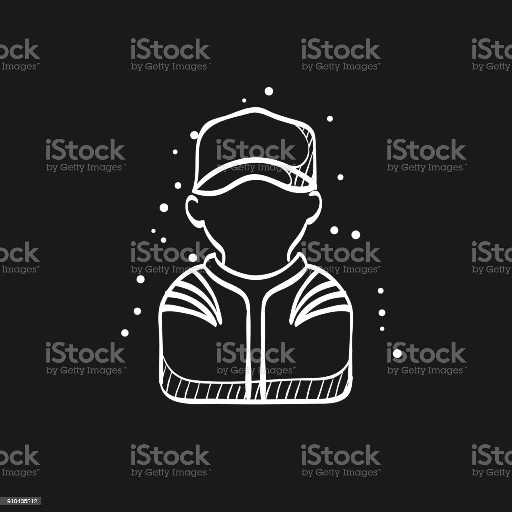 Sketch icon in black - Racer avatar vector art illustration
