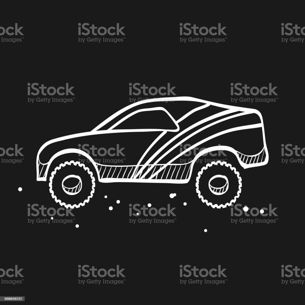 Skizzensymbol In Schwarz Rallyeauto Stock Vektor Art Und Mehr Bilder