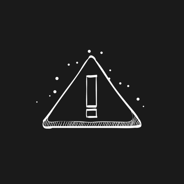 Sketch icon in black - Warning sign Warning sign icon in doodle sketch lines. Beware notice triangle safety security safety american football player stock illustrations