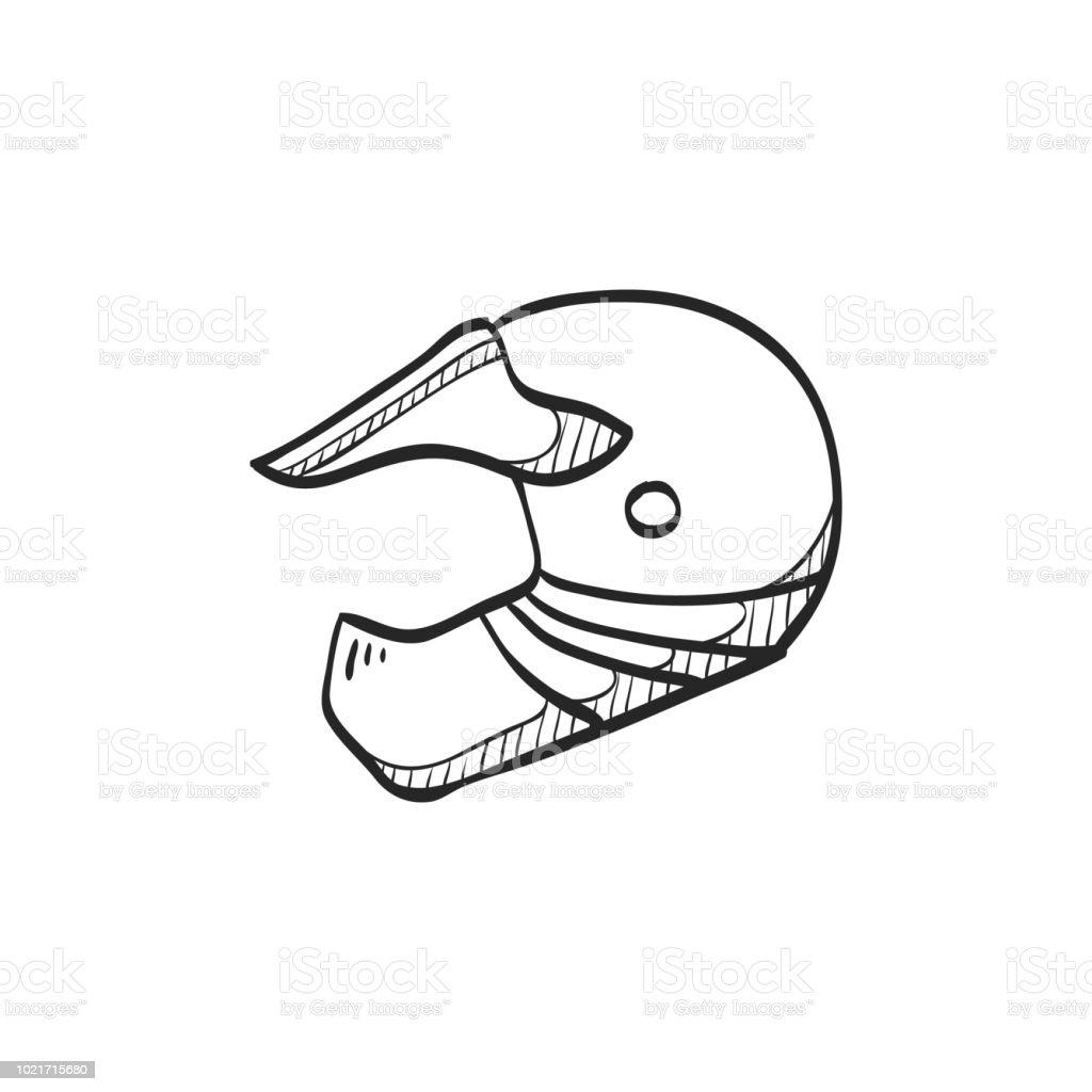 ic 244 ne de croquis casque de moto vecteurs libres de droits