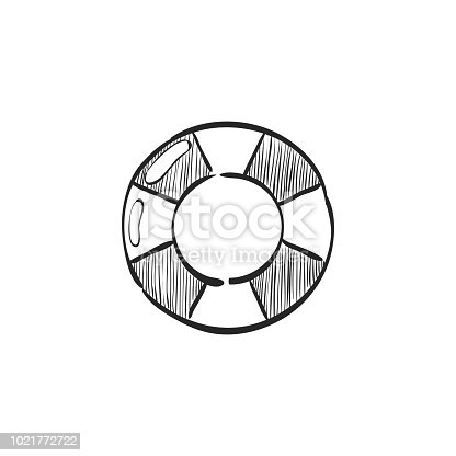 Ring buoy icon in doodle sketch lines. Safety equipment sea swimming water drowning