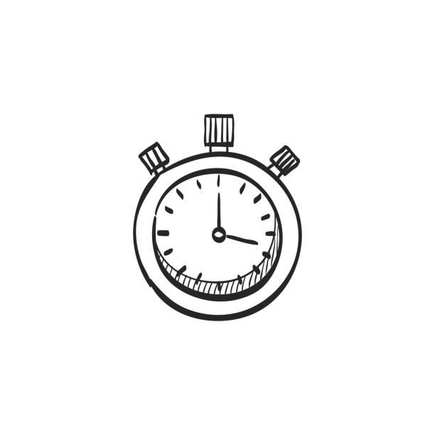 illustrations, cliparts, dessins animés et icônes de icône de croquis - chronomètre - chronomètre