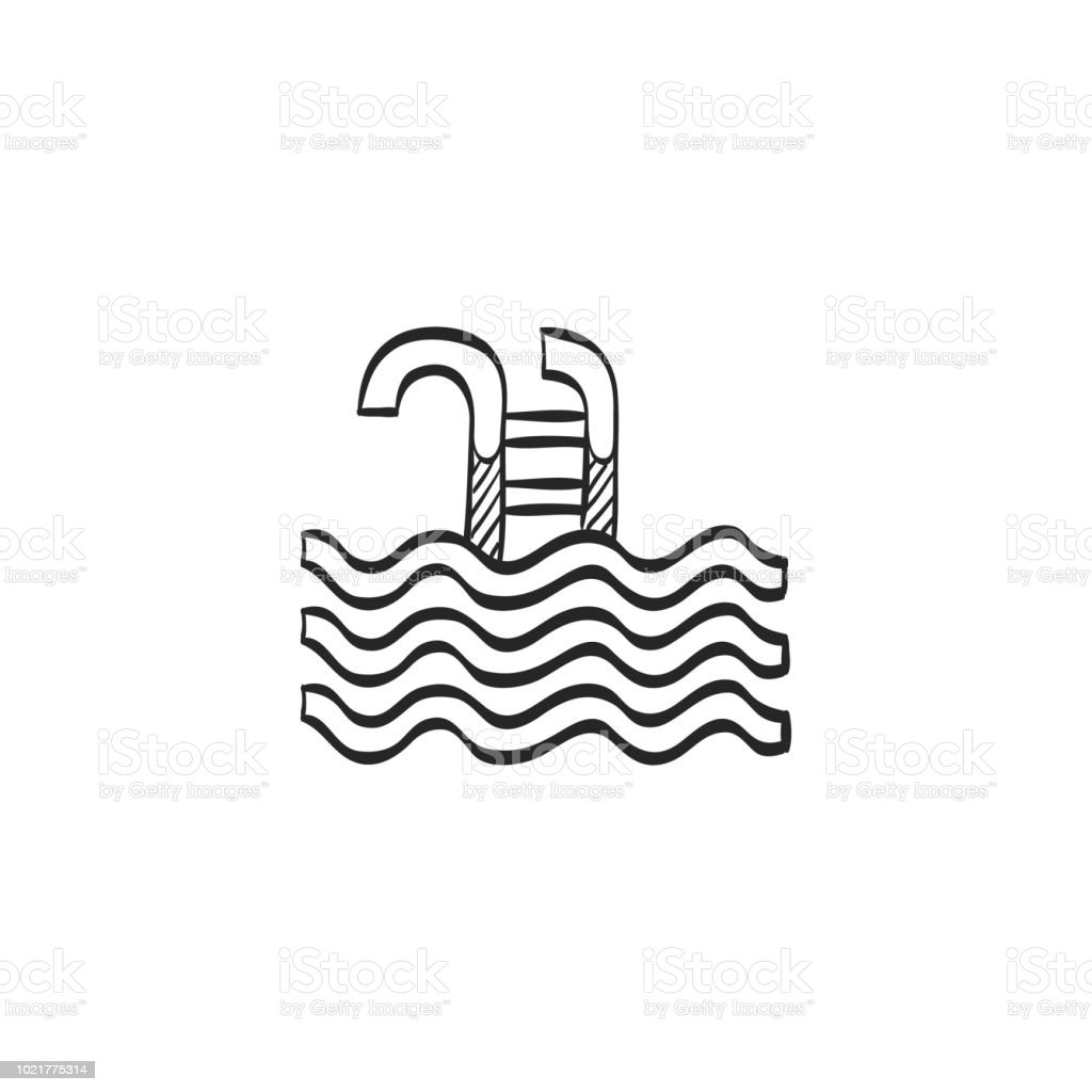 Sketch icon - Swimming pool vector art illustration