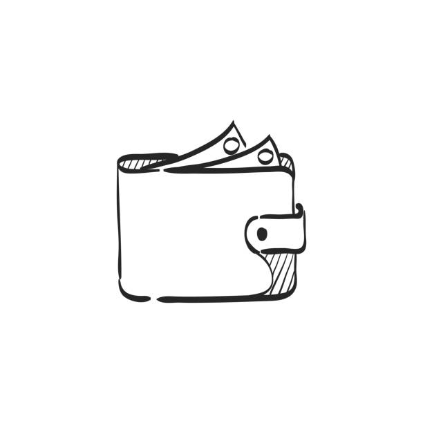 Sketch icon - Wallet Wallet icon in doodle sketch lines. Money case cash shopping finance banking wallet stock illustrations