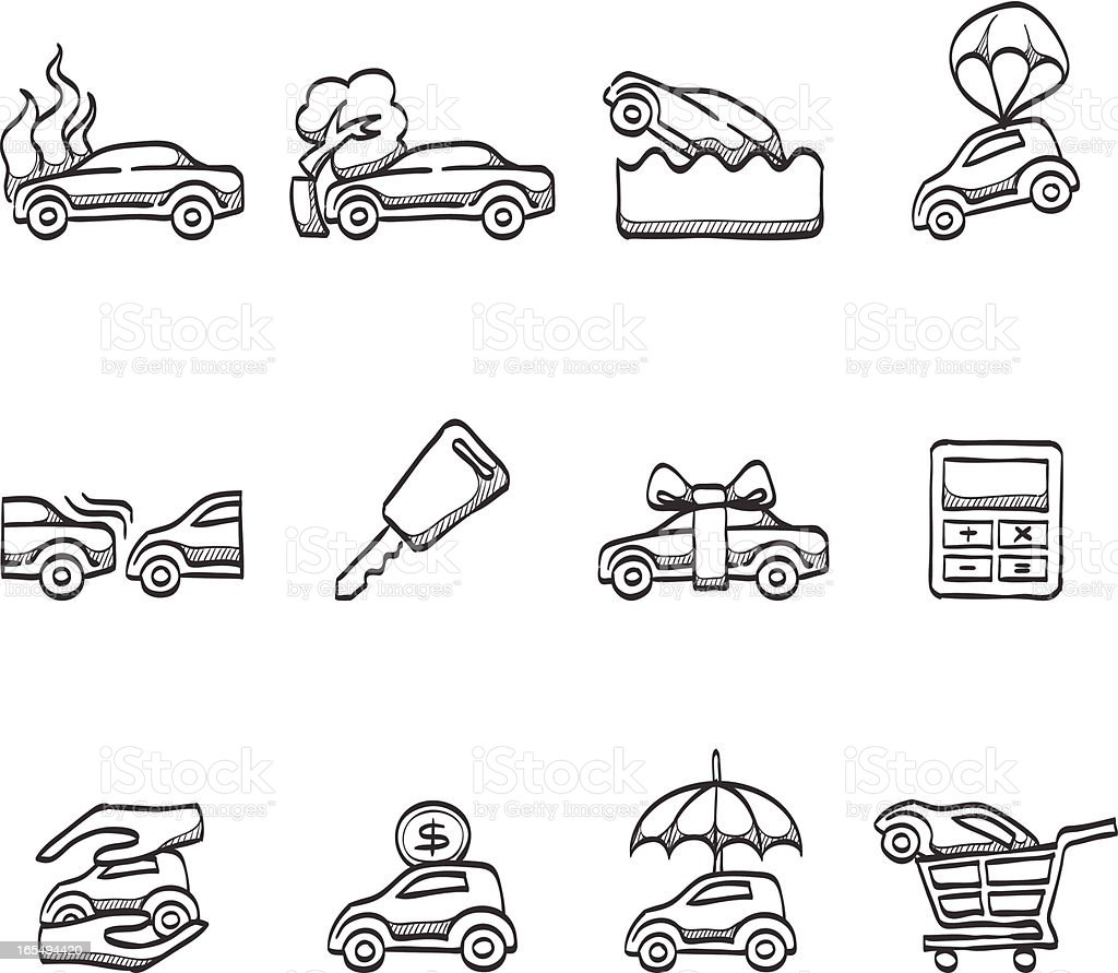 Sketch Icons - Auto Insurance vector art illustration