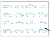 Illustration of Cars Icons. The icons are made of flat shapes, no brushes and strokes.