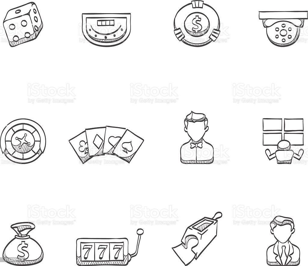 Sketch Icons - Casino royalty-free stock vector art