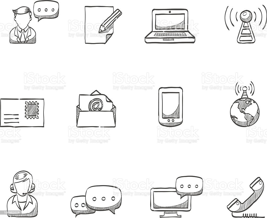 Sketch Icons - Communication royalty-free sketch icons communication stock vector art & more images of antenna - aerial