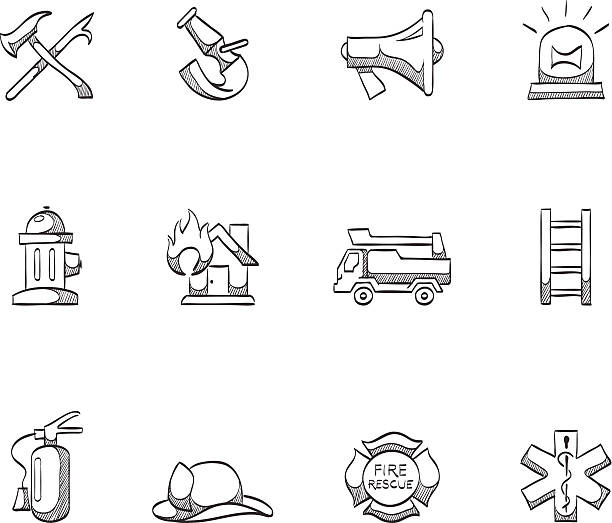 Sketch Icons - Firefighter Firefighter icons in sketch. EPS 10. AI, PDF & transparent PNG of each icon included. maltese cross stock illustrations