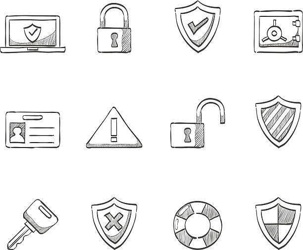 Sketch Icons - Internet Security Security icon series in sketch.  EPS 10. AI, PDF & transparent PNG of each icon included.  safety deposit box stock illustrations
