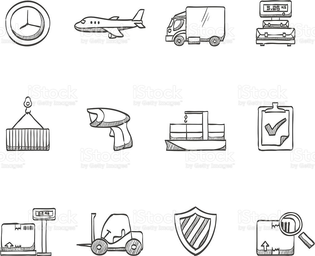 Sketch Icons - More Logistic royalty-free stock vector art