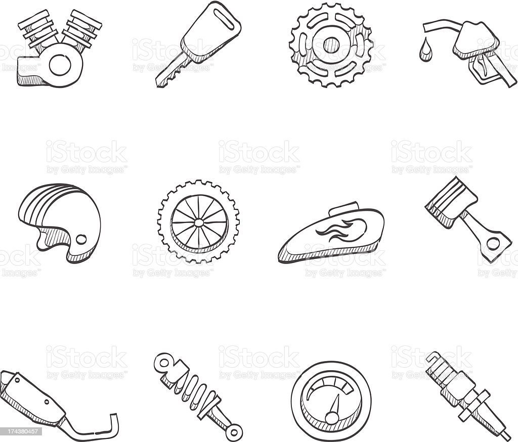 Sketch Icons - Motorcycle royalty-free stock vector art