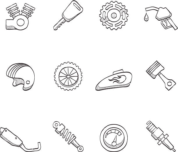Best Motorcycle Engine Illustrations, Royalty-Free Vector