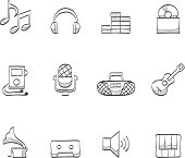 Music icons in sketch. EPS 10. AI, PDF & transparent PNG of each icon included.