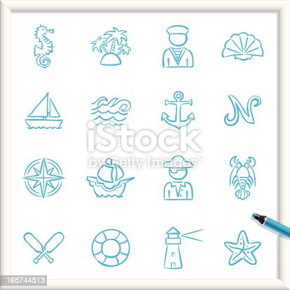 Illustration of Nautical Icons. The icons are made of flat shapes, no brushes and strokes.