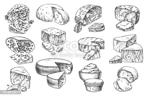 istock Sketch icons of cheese sorts, whole and slices 1219010277