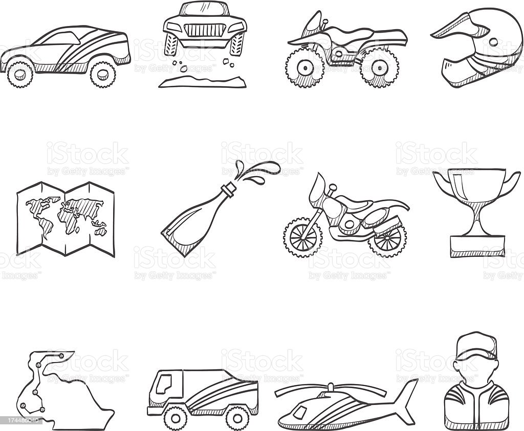 Sketch Icons - Rally vector art illustration