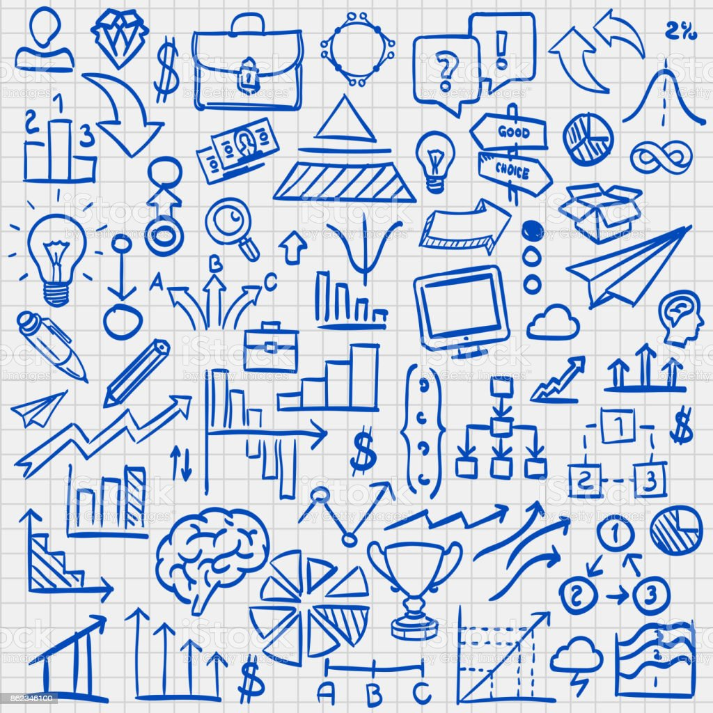 Skizze Icons Set Geschäft. – Vektorgrafik