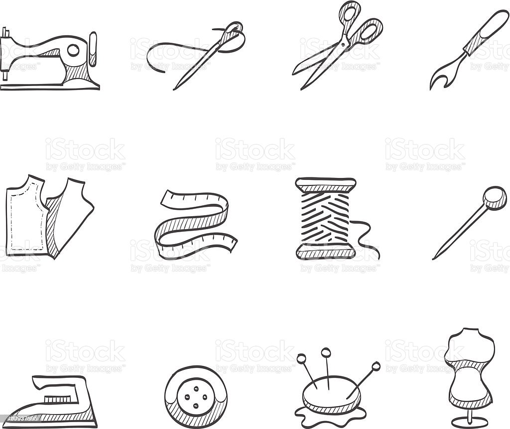 Sketch Icons - Sewing vector art illustration