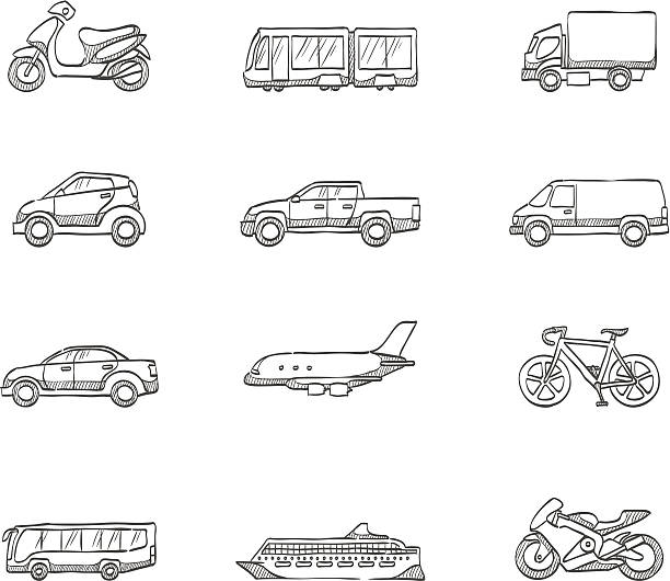 Sketch Icons - Transportation Transportation icon series in sketch. EPS 10. AI, PDF & transparent PNG of each icon included. van vehicle stock illustrations