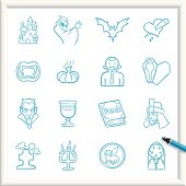 Illustration of Vampire Icons. The icons are made of flat shapes, no brushes and strokes.