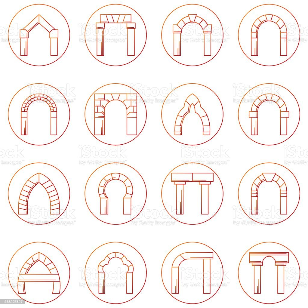 Sketch icons vector collection of different types arch vector art illustration