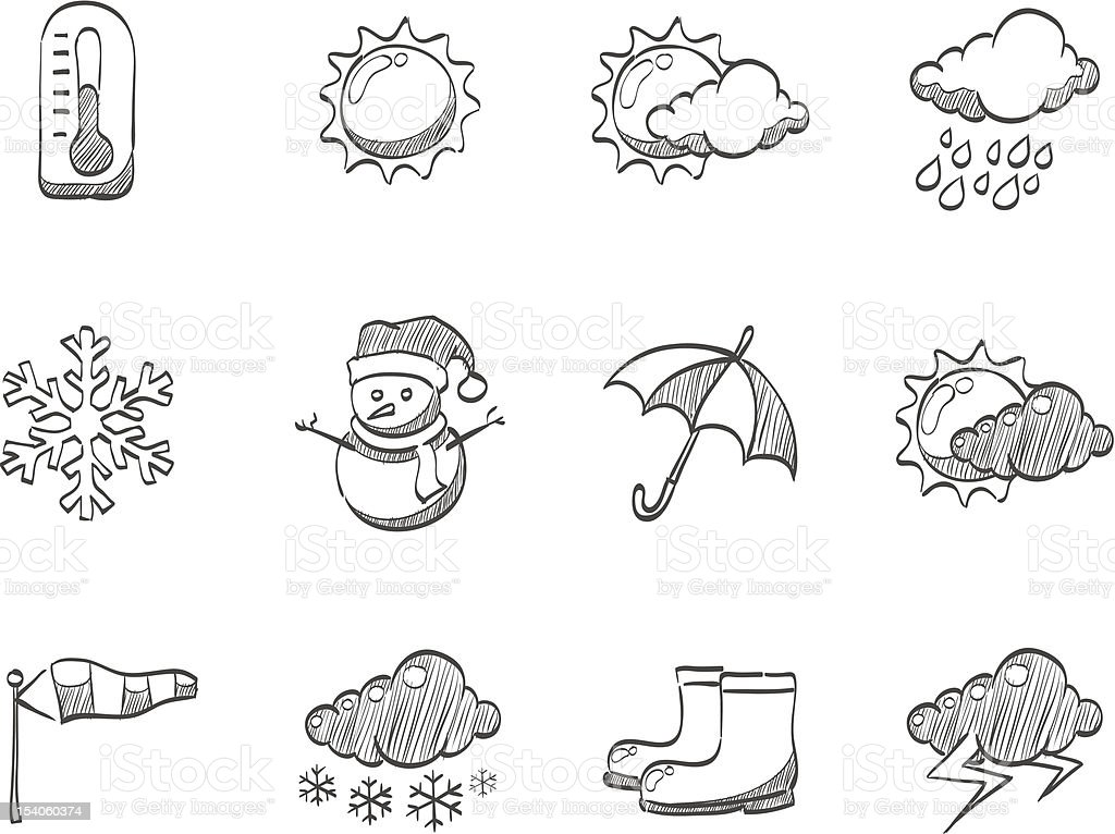 Sketch Icons - Weather royalty-free stock vector art