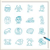 Illustration of Zombie Infestation Icons. The icons are made of flat shapes, no brushes and strokes.